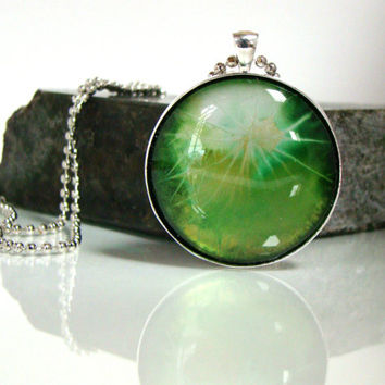 Green Gold and Silver Hand painted glass pendant  Hand painted jewelry Hand painted necklace  Alcohol ink pendant  with ball chain