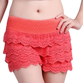 HDE Women's Fitted Scallop Hem Crochet Lace Mini Shorts (Coral, X-Small)