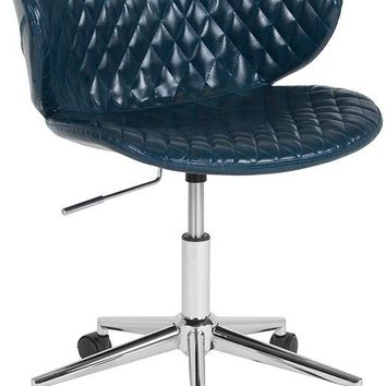 Cambridge Home and Office Upholstered Low Back Chair in Blue Vinyl [LF-9-17-BLU-GG]