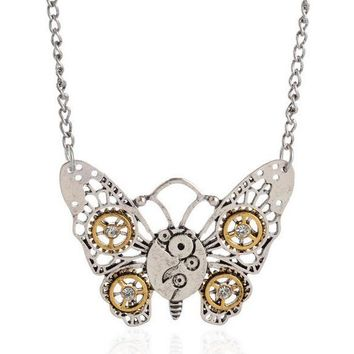 Retro jewelry Steampunk Experience steam punk fashion personality Necklace Butterfly Owl honeybee Heart