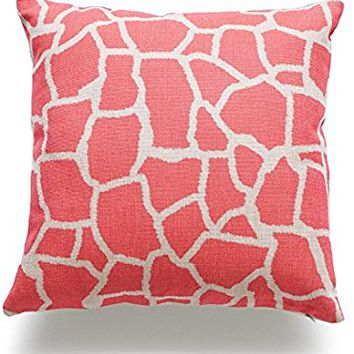 Hofdeco Throw Pillow Case Coral Pink Giraffe Animal HEAVY WEIGHT FABRIC Cushion Cover 18x18