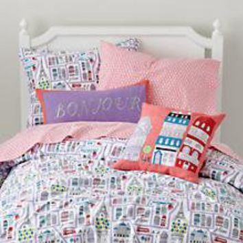 The Land of Nod | Girls Bedding: Paris Themed Bedding Set in Girl Bedding