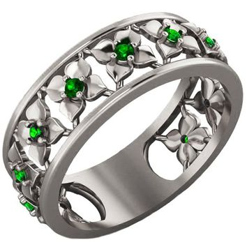 White Gold Green Flower Eternity Wedding band Ring Leaves ring Filigree band Friendship Green Floral Jewelry Width 6.9 mm