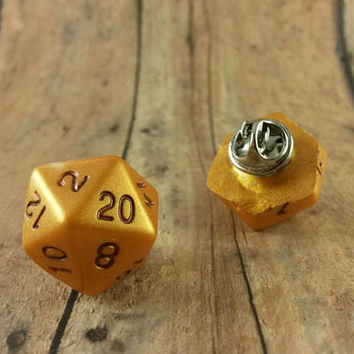 D20 RPG Dice Pin, Table Top Role Playing Game, Gamer Hat Pin, 20 Sided Pin, Geeky Gamer, Role Playing Dice Pinback, Critical Hit For Him