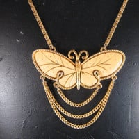 Large Butterfly Necklace Vintage 1970's