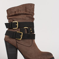 Two-Tone Slanted Collar Double Buckle Chunky Heel Bootie