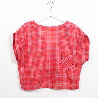 Vintage 1980s Crop Top Red White Plaid Lightweight Boxy Cropped Top Button Back Low V 80s Jordache Blouse Camp T Shirt M Meidum L Large XL