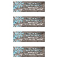Rustic Winter Wood Blue Snowflake Address Labels