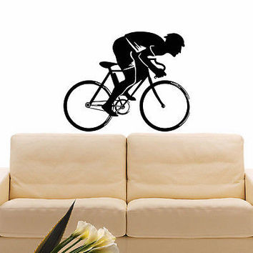 WALL DECAL VINYL STICKER SPORT BOY CYCLING BICYCLE DECOR SB634