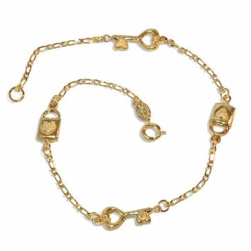 "1-0041-e9 Heart Key and Lock Anklet. 10"", 7mm pieces."