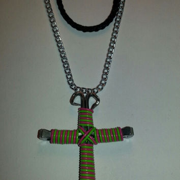 Neon green and neon pink candy cane wire wrapped horseshoe nail cross necklace jewelry
