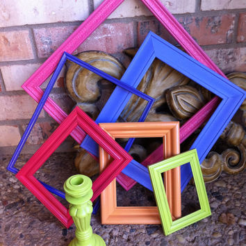 Funky Home Decor Frames Hollywood Regency Orange Pink Lime Unique Vintage Upcycled Painted