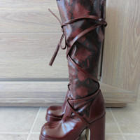 Stretch Faux Snake Leather Platform Knee High Boots - 90's does 70's