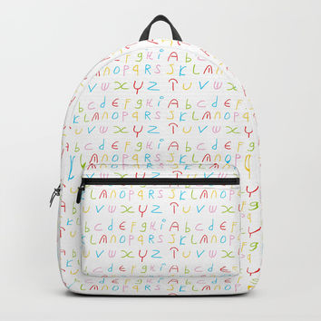Alphabet -letter,child,language,Abecedarium,abc,abcdefg, symbols,,script,write,writing Backpack by oldking