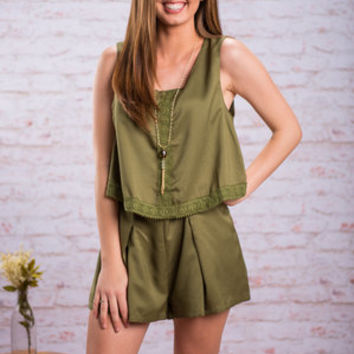 On The Move Romper, Olive