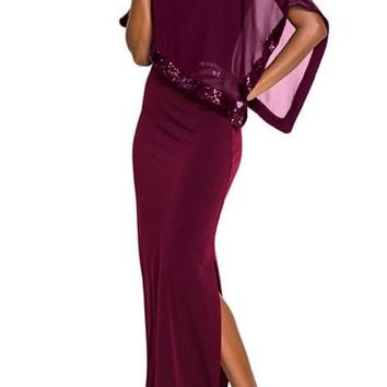 Burgundy Sequin Mesh Overlay Poncho Party Dress