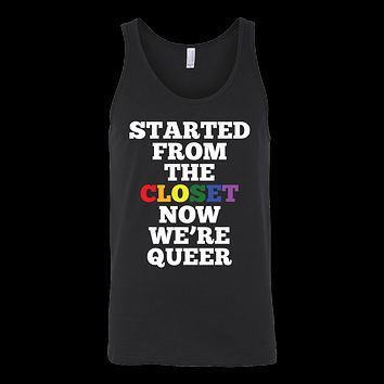 Queer Closet LGBT Rainbow Flag Gay Lesbian Pride Unisex Tank Top T Shirt - TL00667TT