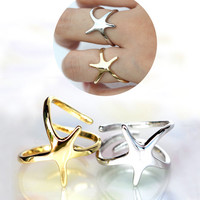 Dancing star ring/star dances in the night sky/ very sensitive designer ring/ adjustable