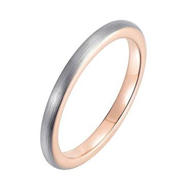 2mm Rose Gold Tungsten Wedding Band Ring Domed Brushed Surface (Platinum 14k, 18k Rose Gold)