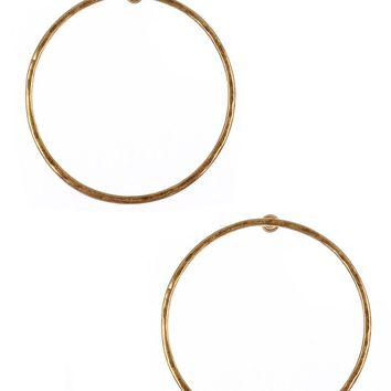Gold Hammered Metal Large Ring Earring