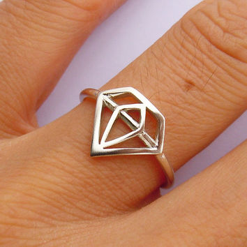 Diamond Shape Ring in Sterling Silver Engravable All Sizes
