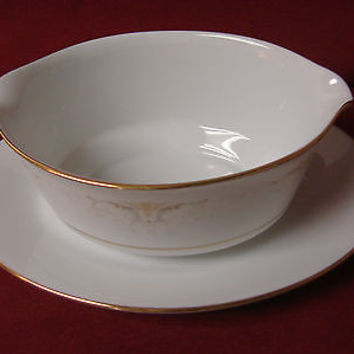 #Noritake, China Dinnerware Japan #Glendola  Pattern #:2220 Gravy boat W/Plate