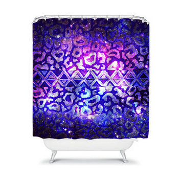TRIBAL LEOPARD GALAXY Fine Art Painting Purple Shower Curtain Washable Decor Native Aztec Space Blue Cosmic Modern Stylish Dorm Bathroom