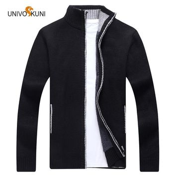 UNIVOS KUNI 2017 Winter New Fashion Men's Stand Collar Cardigan Sweater Casual Plus Cashmere Thick Sweater For Youth Jacket O159