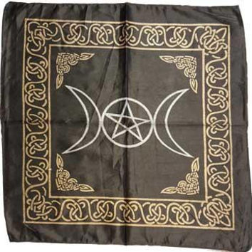 "18""x18"" Black Rayon Triple Moon Pentagram Altar Cloth"