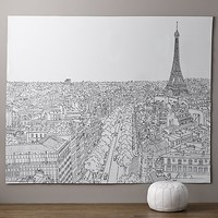 Paris Map Grand Canvas Wall Tapestry