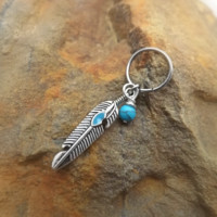 Turquoise Feather Cartilage Earring with Turquoise Bead Captive Hoop Body Jewelry 18ga