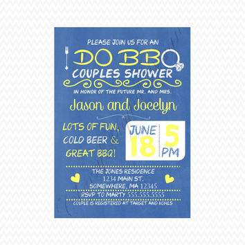 I Do BBQ Custom Printable Invitation.  Yellow & Blue Couples Shower Invitation.  Rehersal Dinner invitation.  Custom invite.