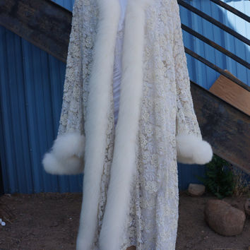 Heavily Beaded 1920s Style Art Nouveau Lace Fur Gown, Hollywood Glass Beaded Maribou Trimmed Cape /30s Greta Garbo / Avant Garde Beaded Gown