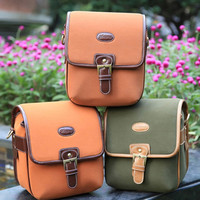 Small Crossbody Leather DSLR Camera Messenger Bag
