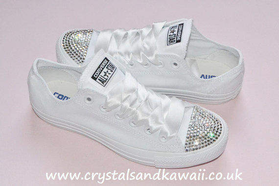 43d59d1d92b2 Customised Crystal White Mono Low Top All from CrystalsAndKawaii