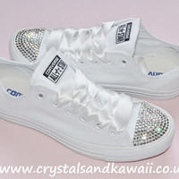Customised Crystal White Mono Low Top All Star Converse with Blinged Crystal Toes & White Ribbon Custom Order Wedding Shoes Adult Womens