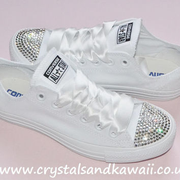 Customised Crystal White Mono Low Top All Star Converse with Blinged Crystal  Toes   Wh 60487f5d2