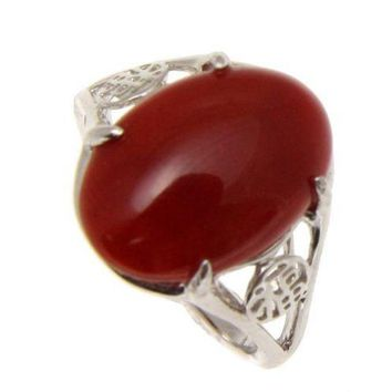 GENUINE NATURAL CABOCHON RED CORAL RING SOLID 14K WHITE GOLD GOOD LUCK CHARACTER