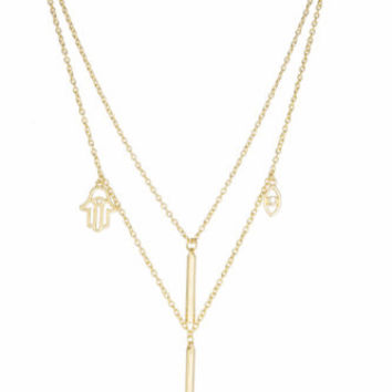 Layered Evil Eye, Hamsa, and Double Rod Link Necklace with Earrings Jewelry Set (Goldtone)