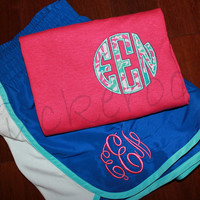 personalized running shorts and pocket tee, gym set, lilly pulitzer fabric