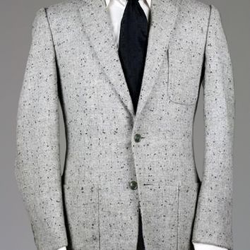 Vintage 60s Gray Flecked ATOMIC Wool TWEED Jacket 39 S Monkey Suit