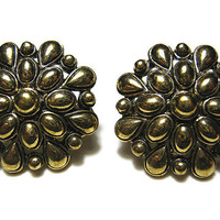 Antiqued Gold Tone Monet Vintage Clip on Earrings Flower Floral Bumpy Design Womens Retro Mod