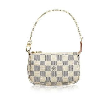 VON2DR Louis Vuitton Damier Azur Canvas Mini Pochette Accessoires N58010 Made in France