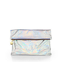 CLARE VIVIER - Holographic Fold-Over Clutch - Saks Fifth Avenue Mobile