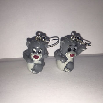 Squinkies Earrings - Baloo the bear - made from re-purposed toys