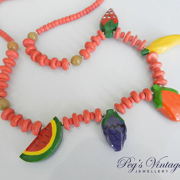 Vintage Colorful FRUIT Bib Wood Choker Necklace Hand Painted 1980s Summer Necklace