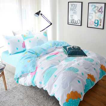 Julon Clouds constellation 100% cotton bed sheets quilt  fabric