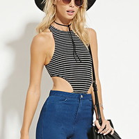 Striped Side-Cutout Bodysuit