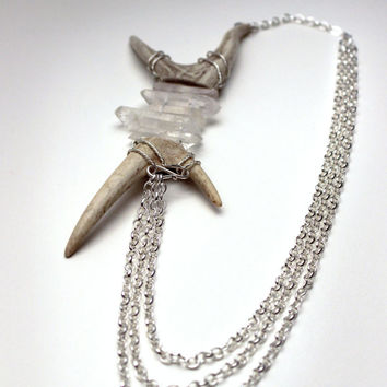 Antler Horn & Raw Crystal Asymmetrical Statement Multi-Strand