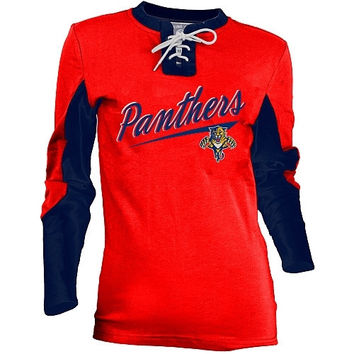 Old Time Hockey Florida Panthers Women's Adina Lace-Up Jersey T-Shirt